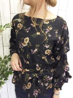 【Marie Hill】花柄ボリュームスリーブブラウス