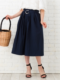 【Marie Hill】リングベルト付きフレアスカート