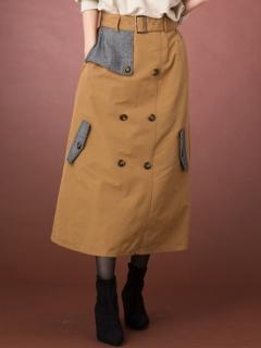 【Marie Hill】ツイードケープ切替えトレンチスカート