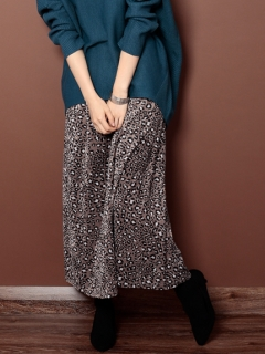【Marie Hill】ベロアレオパードマキシスカート