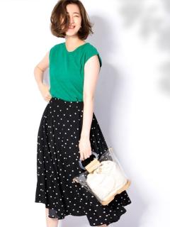 【Marie Hill】サスペンダー付きドットロングスカート