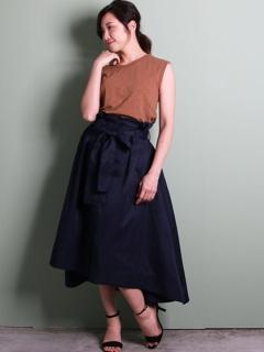 【Marie Hill】リボンベルト付き前釦スカート
