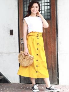 【Marie Hill】フロント釦トレンチ風フレアスカート