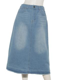 裾加工デニムスカート