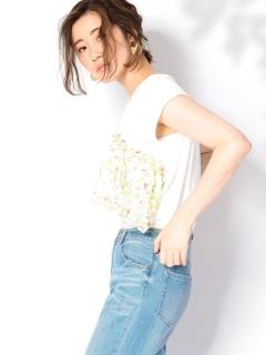 【Marie Hill】刺繍ギャザー半袖カットソー