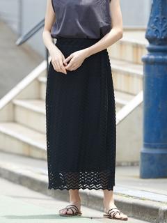 かぎ針編み風レースロングスカート