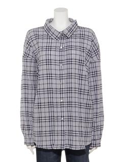 ボリュームスリーブチェックビッグシャツ