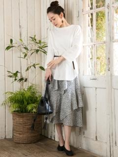 【Marie Hill】小花柄ランダムフリルロングスカート