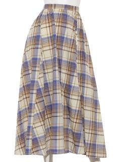 【Marie Hill】サイド釦チェックフレアスカート