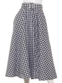 【Marie Hill】ベルト付チェックフレアスカート