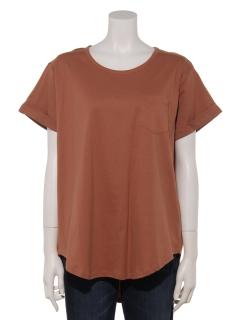 クルーネック裾ラウンドTシャツ