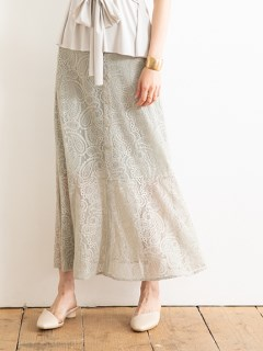 【Marie Hill】ペイズリーレースマーメイドスカート