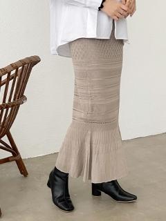 透かし編みマーメイドロングスカート