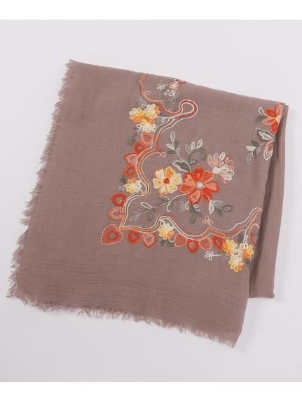 HONKY TONK (ホンキートンク) フラワー刺繍 スクエアストール ブラウン