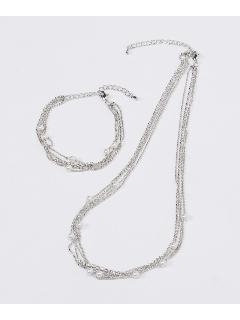 4連ネックレス&4連ブレスレットセット(オリジナル巾着付き)