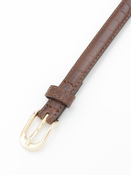 HONKY TONK (ホンキートンク) クロコ型押しベルト(15mm巾) ブラウン