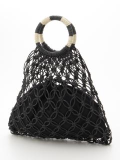 手編みメッシュバッグ(巾着付)