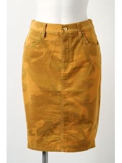 細コール迷彩柄製品染めタイトスカート