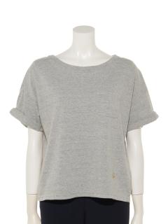 ハチハチビンテージ袖ロールアップボートネック半袖Tシャツ