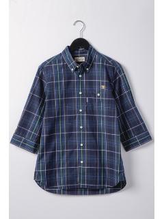マドラスチェック釦ダウン七分袖シャツ