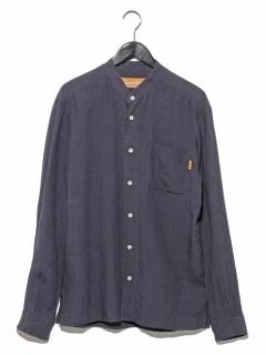 リネンワッシャースタンドカラーシャツ