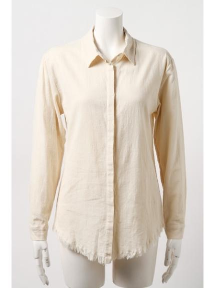 Bi-jouterie (ビジュタリエ) しぼりフリンジシャツ BEIGE