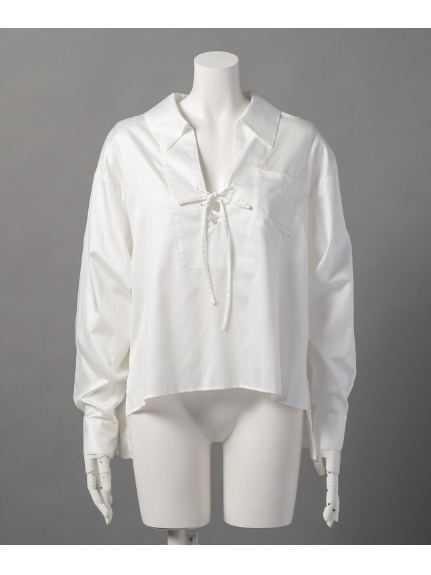 Bi-jouterie (ビジュタリエ) ドロストボリュームスキッパーシャツ Offwhite