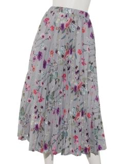 フラワープリント変形プリーツスカート