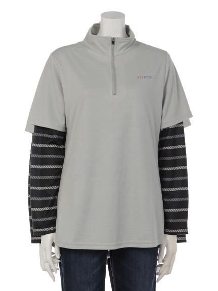ELLE SPORTS (エルスポーツ) ハーフジップレイヤードシャツ グレー