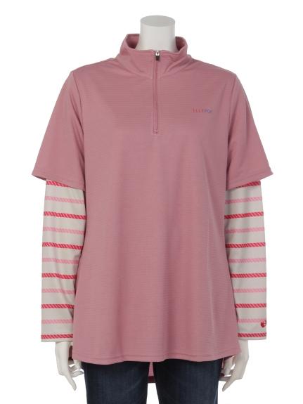 ELLE SPORTS (エルスポーツ) ハーフジップレイヤードシャツ ピンク