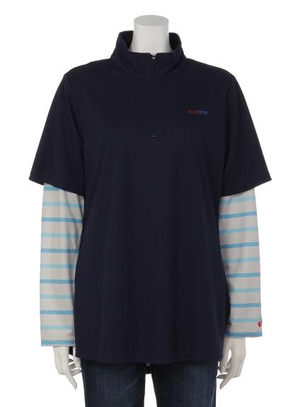 ELLE SPORTS (エルスポーツ) ハーフジップレイヤードシャツ ネイビー