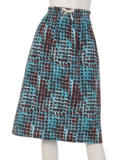 ブロック柄ギャザースカート
