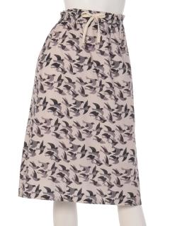 渡り鳥柄ギャザースカート