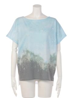 森風景柄ドルマンTシャツ