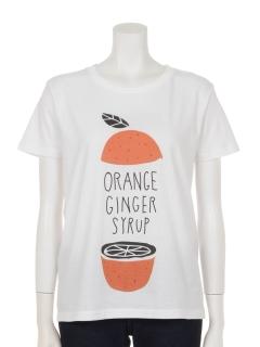 オレンジプリントコットンTシャツ