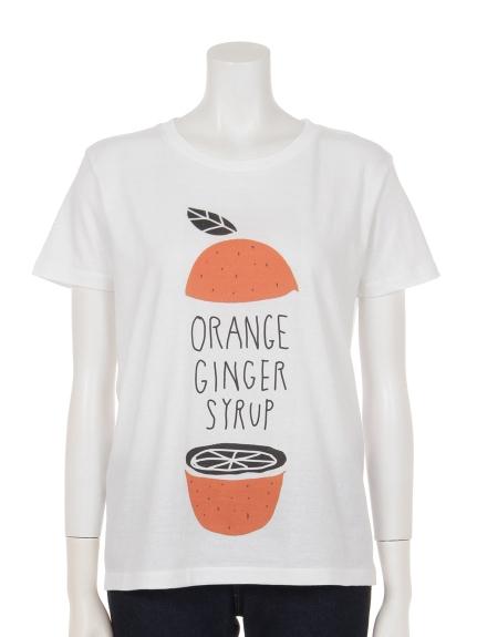 THREE LAMPS WEAR (スリーランプスウェア) オレンジプリントコットンTシャツ ホワイト