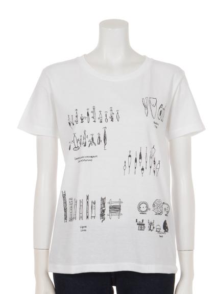THREE LAMPS WEAR (スリーランプスウェア) ルアープリントコットンTシャツ ホワイト
