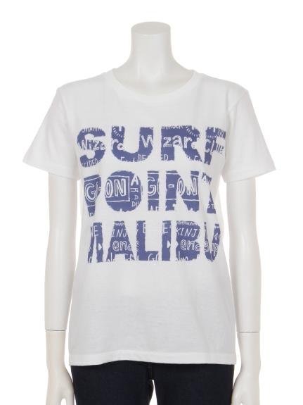 35%OFF THREE LAMPS WEAR (スリーランプスウェア) SURFロゴプリントTシャツ ホワイトxブルー
