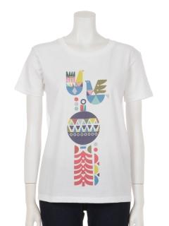 幾何学柄風バードプリントTシャツ