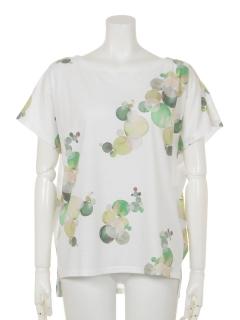 水彩画ぼかしドット柄ドルマンTシャツ