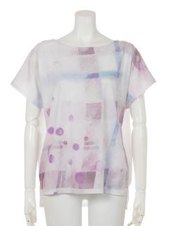 水彩画ぼかしチェック柄ドルマンTシャツ