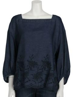 【LUNARIA】裾刺繍テンセル混デニムブラウス