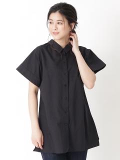 【LOHA DEUX】ペーパーヤーン2WAYフリルチュニックシャツ