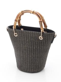 バンブーハンドル雑材バケツ型バッグ