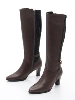 ロングブーツ切替異素材履き口ゆったり6.5cmヒール