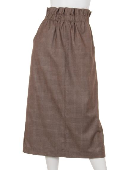 remis (レミス) グレンチェックロングタイトスカート キャメル