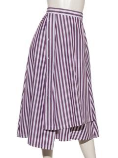 ストライプ巻きスカート