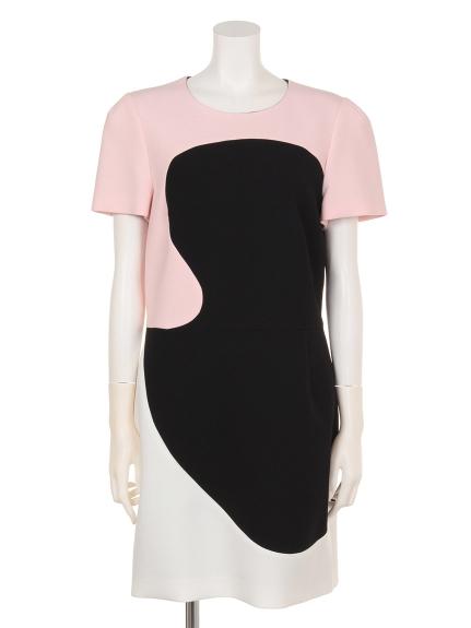 62%OFF TARA JARMON (タラジャーモン) カラー切り替えデザインドレス ライトピンク