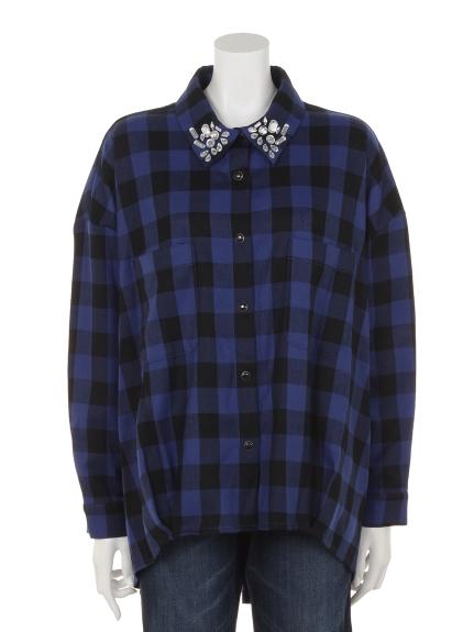 VARAL DE MODA+ (バラルデモーダプラス) 先染めビエラブロックチェック襟ビジュー付きシャツ ブルー