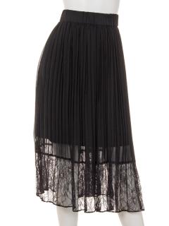 裾レースクリスタルプリーツスカート